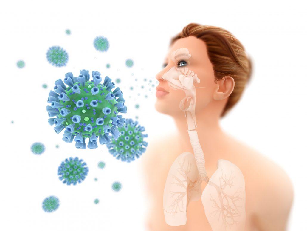 """Illustration des Sars CoV 2 """"Corona Virus"""", der in die Atemwege eindringt"""