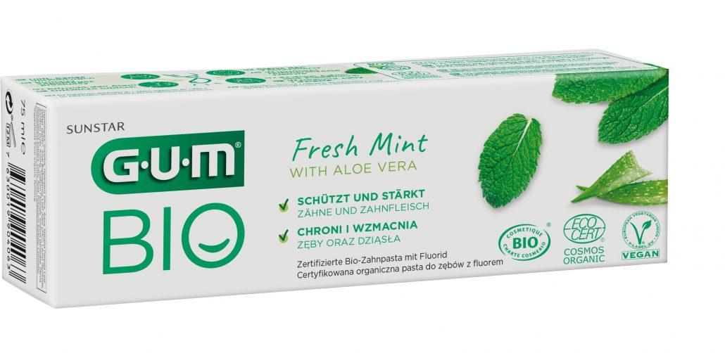 Packshot GUM® BIO Zahnpasta mit Packaging