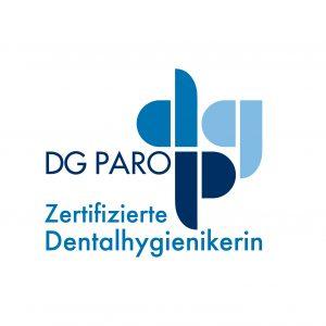 """Zertifizierungssiegel zur """"zertifizierten Dentalhygienikerin der DG PARO®"""""""